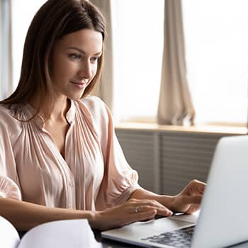 woman researching for her family's move